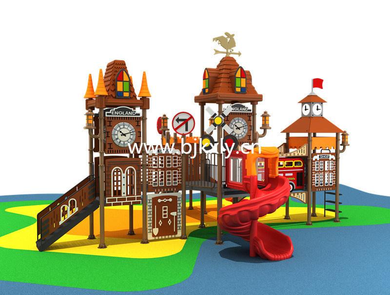 欧式城堡02-幼儿实木床,儿童组合滑梯,幼儿园滑梯,,园