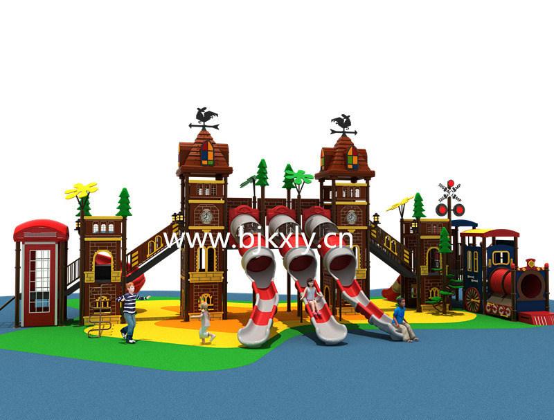 欧式城堡03-幼儿实木床,儿童组合滑梯,幼儿园滑梯,,园